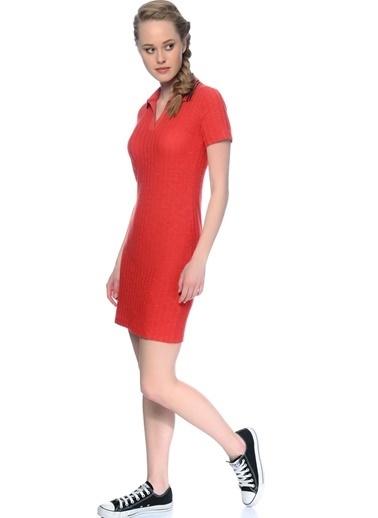 Black Pepper Kısa Kollu Dar Mini Elbise Kırmızı